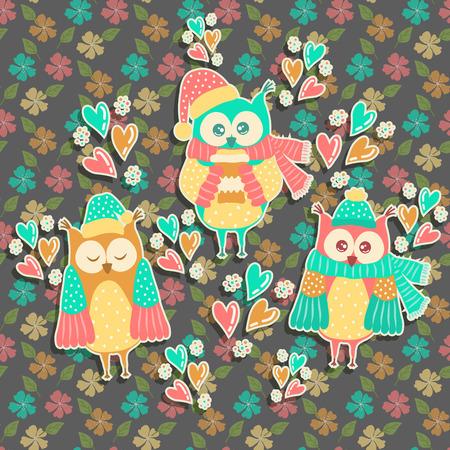 familia animada: Búho hermoso sobre un fondo con flores