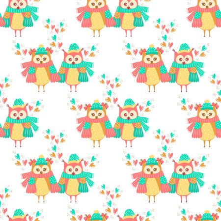 retro cartoon: Seamless pattern of colorful owls on a white background
