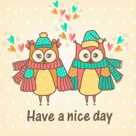 the animated cartoon: loving couple of owls with a hearts Illustration