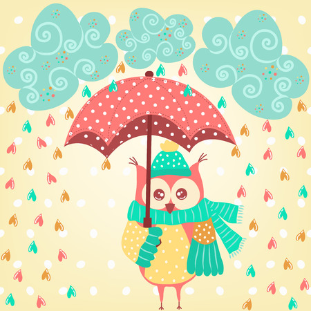 monsoon clouds: Cute owl with umbrella in the rain Illustration