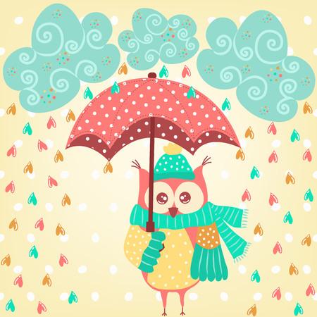 Leuke uil met paraplu in de regen