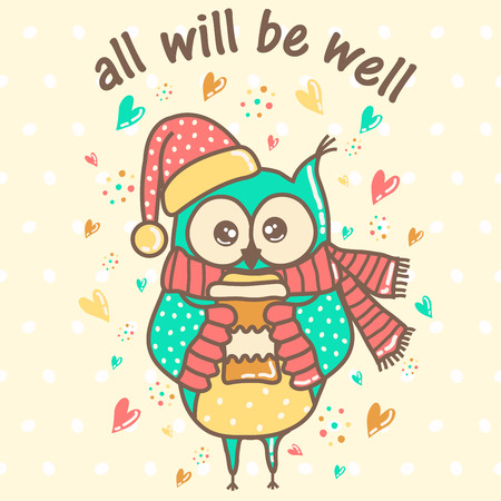 party cartoon: beautiful owl with a cup on a light background with hearts