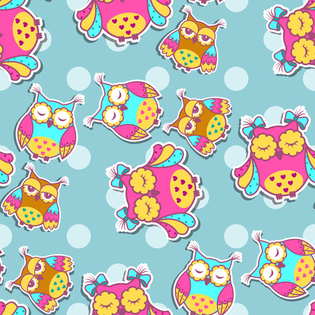 repetition: Seamless pattern with colorful owls on spotty background Illustration