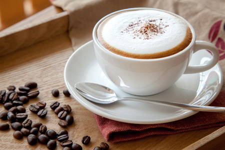A cup of cappuccino with coffee beans