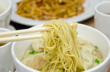 Shrimp wonton noodle soup Stock Photo
