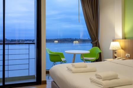 nakhon: NAKHON PHANOM, THAILAND - FEB 25, 2017:The River is a modern style hotel beside Mae Kong River in Nakhon Phanom province of Thailand. Editorial