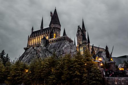 OSAKA, JAPAN - MARCH 20, 2017 : Hogwarts School in Harry Potter Attraction Zone in Universal Studio Japan