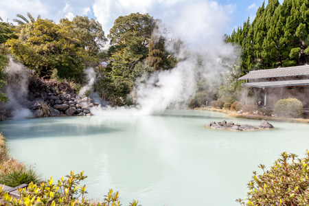 BEPPU, OITA, JAPAN - MARCH 14, 2017 :Shiraike Jigoku (White Pond Hell) is one of the tourist attractions representing the various hells at Beppu Onsen, Oita.