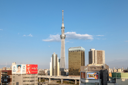 TOKYO, JAPAN - MARCH 22, 2017 : Tokyo Skytree is a landmark, broadcasting and observation tower in Tokyo, Japan. Editorial