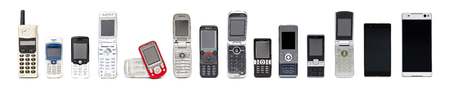 Old mobile phones from past to present on white background with some model can slide or flip to open for calling or typing. Banque d'images - 119135965
