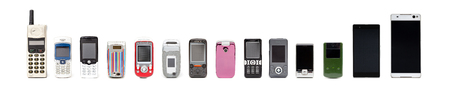 Old mobile phones from past to present on white background. Banque d'images - 119136038