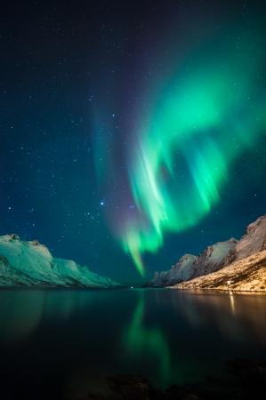 오로라: Ersfjordbotn, 트롬 소, 노르웨이 북부 조명 스톡 사진