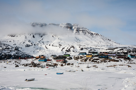 greenlandic: Landscape of small town Qeqertarsuaq in early springtime, North Greenland Stock Photo