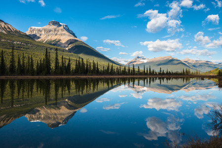 mountains and sky: Waterfowl lake, Banff national park,Canada