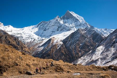 Mount Machhapuchchhre, Annapurna Himal, Nepal Imagens