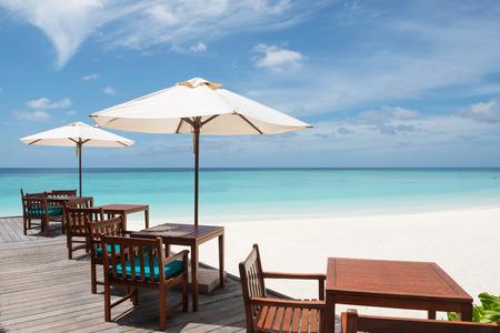 Restaurant on the tropical beach, Maldives Imagens