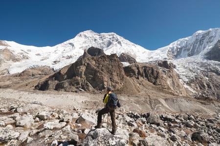 Trekker with Makalu massif