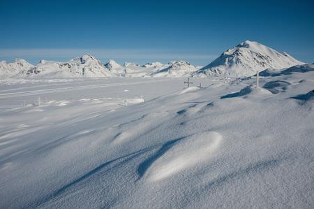 Winter snowy landscape of Kulusuk, small village in Greenland