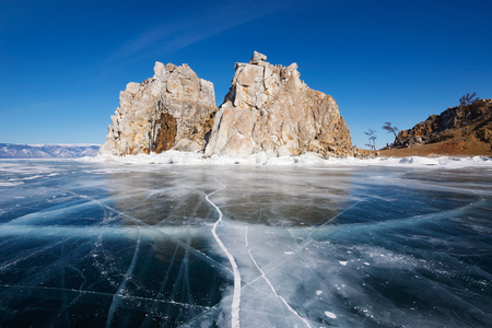 water frozen: Lake Baikal in winter