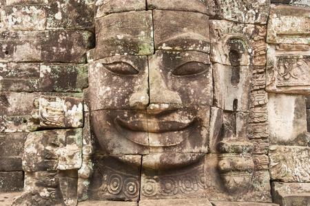 siem reap: Stone face at Angkor Thom, Siem Reap Stock Photo
