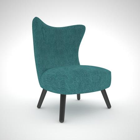 upholstered: Isolated aquamarine armchair Stock Photo