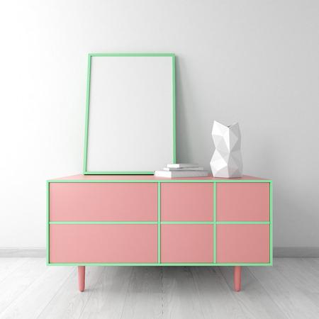 dresser: pink dresser with frame and vase in white room interior mockup