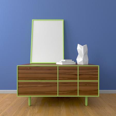 dresser: Wooden dresser with green frame and picture frame mockup, white vase, books, wooden floor, blue wall, in room or bedroom. 3d render. Interior mockup. Stock Photo