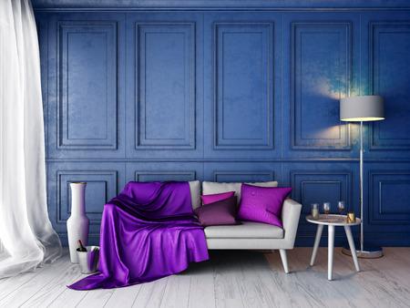 Interieur in klassieke stijl met blauwe muur en witte sofa, kussens, silp plaid, staande lamp, vaas, wijn, glazen, kaarsen mockup