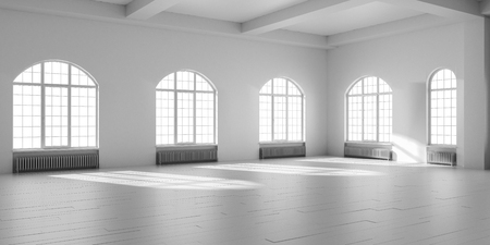 White empty loft interior. Stock Photo