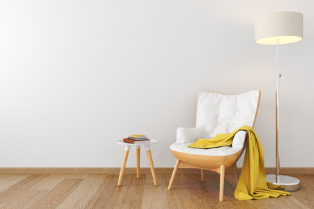 leather armchair: White leather wood armchair in empty room. Stock Photo