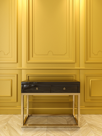 Black console with gold in classic yellow interior. 3d render illustration. Stock Photo