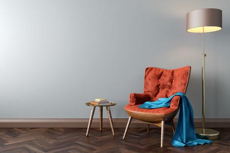 빈 방에 오렌지 안락의 층 램프 커피 테이블 3d 그림을 모의 조롱