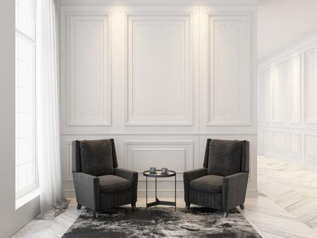 Sillones y mesa de centro en el interior blanco clásico. Mock up interior.