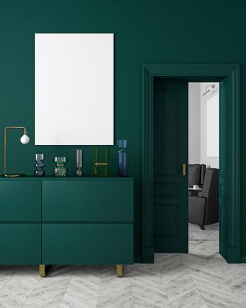 Klassiek, modern, donkergroen interieur in scandinavische stijl mock-up met vazen, dressoir, consoe, deur, lamp, lijst, houten vloer. 3d render illustratie.