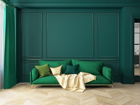 Classic green interior with sofa. Stock Photo