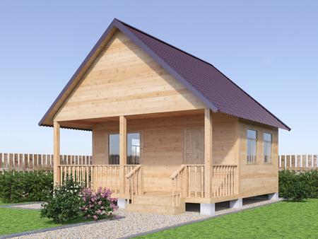 Wooden village house or sauna in the garden exterior. 3d render illustration.
