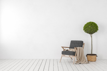 Empty white interior, blank wall with lounge armchair, plant tree. 3d render illustration mockup.