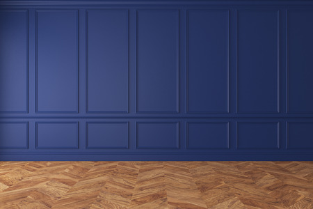 Modern classic royal blue empty interior with wall panels and wooden floor. 3d render illustration mockup.