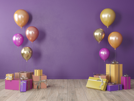 Purple, ultraviolet blank wall, colorful interior with gifts, presents, balloons for party, birthday, events. 3d render illustration, mockup.