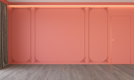 Modern classic living coral interior with stucco, door, wooden floor, ceiling backlit, molding. Stock Photo