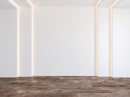 Empty room with white blank wall, hidden light, parquet wood floor. Stok Fotoğraf
