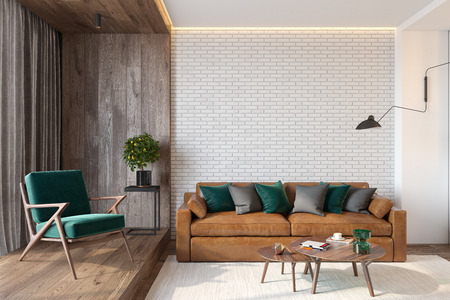 Modern living room interior with brick wall blank wall, sofa, lounge chair, table, wooden wall and floor.
