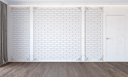 Modern classic white interior with brick wall, door, wooden floor, ceiling backlit, molding and curtain. Stok Fotoğraf