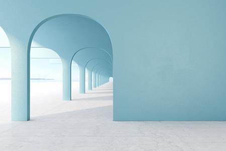 Blue architectural corridor with empty wall, concrete floor, horizon line.