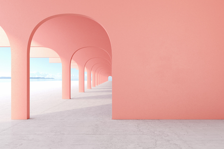 Living coral, pink color architectural corridor with empty wall, concrete floor, horizon line. Stok Fotoğraf