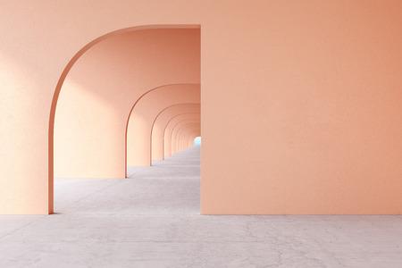 Peach architectural corridor with empty wall, concrete floor, horizon line. Stok Fotoğraf