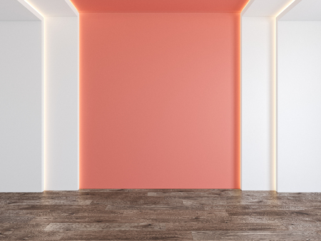 Empty room with coral, pink color blank wall, hidden light, parquet wood floor.
