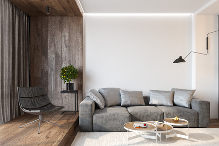 Modern living room interior with blank wall, sofa, lounge chair, table, wooden wall and floor.
