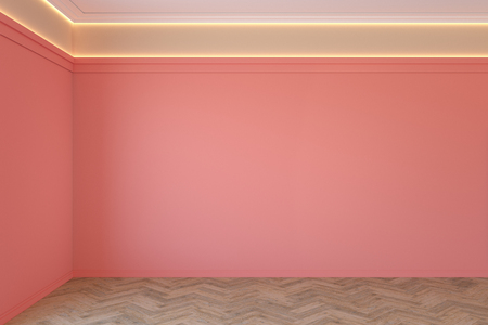 Empty coral, pink color interior with blank wall, mouldings, ceiling backlit and wooden chevron parquet floor.