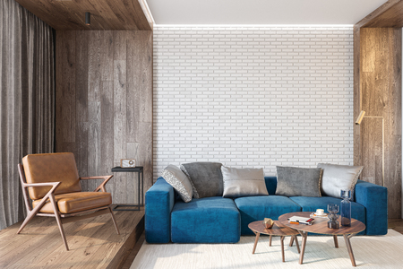 Modern living room interior with brick wall blank wall, blue sofa, leather lounge chair, table, wooden wall and floor, plants, carpet, hidden lighting. 3d render illustration mockup. Stok Fotoğraf